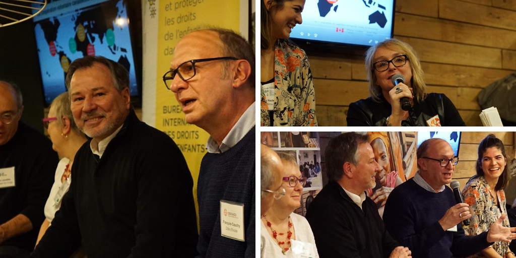Serge Bisaillon (left), Isabelle Noury (top-right) and François Cauchy (bottom-right) joins other volunteers at an event to present their own international development experience.
